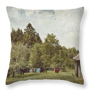 Laundry Drying On Clothesline On A Summer Day Throw Pillow by Sandra Cunningham
