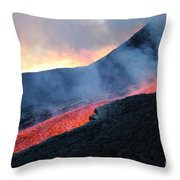 Lava Flowing From Base Of Hornito Throw Pillow
