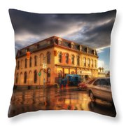 Left Turn In The Rain Throw Pillow