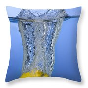 Lemon Dropped In Water Throw Pillow