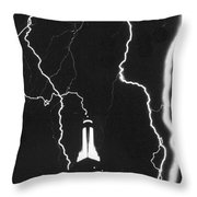 Lightning Strikes Empire State Throw Pillow