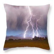 Lightning Striking Longs Peak Foothills 6 Throw Pillow