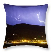 Lightning Striking Over Ibm Boulder Co 2 Throw Pillow