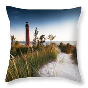 Little Sable Point Light Station Throw Pillow