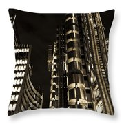 Lloyds Building London In Gold Throw Pillow