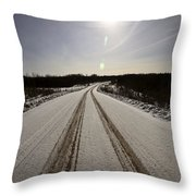 Logging Road In Winter Throw Pillow