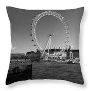 London Skyline Edf Eye Bw Throw Pillow