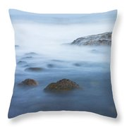 Long Exsposure Of Rocks And Waves At Sunset Maine Throw Pillow