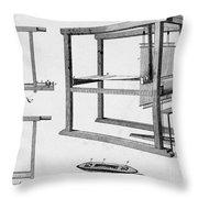 Loom: Fly Shuttle, 1733 Throw Pillow
