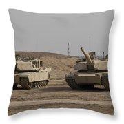 M1 Abrams Tank At Camp Warhorse Throw Pillow