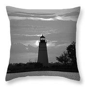 Madisonville Lighthouse Sunset Throw Pillow