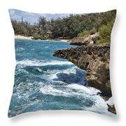 Mahaulepu Beach Throw Pillow