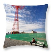 Man On A Bench Throw Pillow