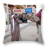 Man With His Camel Throw Pillow