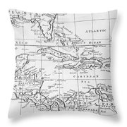 Map Of The West Indies Florida And South America Throw Pillow