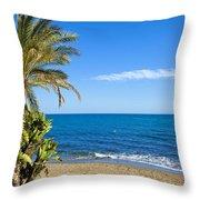 Marbella Beach In Spain Throw Pillow