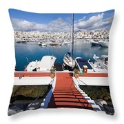 Marina In Puerto Banus Throw Pillow