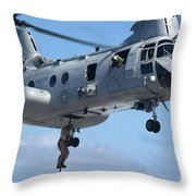Marines Fast Rope From A Ch-46 Sea Throw Pillow