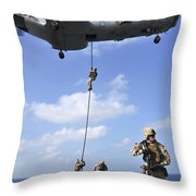 Marines Fast Rope From A Ch-46e Sea Throw Pillow