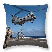 Marines Fast Rope On To The Flight Deck Throw Pillow