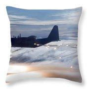 Mc-130p Combat Shadow Dropping Flares Throw Pillow