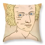 Metoposcopy, 17th Century Throw Pillow