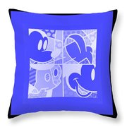 Mickey In Negative Light Blue Throw Pillow