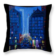 Midnight Drizzle Throw Pillow