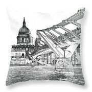 Millenium Bridge And St Pauls Throw Pillow