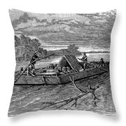 Mississippi: Flatboat Throw Pillow