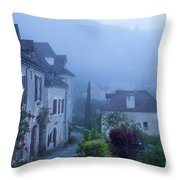 Misty Dawn In Saint Cirq Lapopie Throw Pillow
