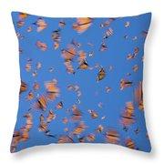 Monarch Danaus Plexippus Butterflies Throw Pillow