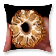 Morel Mushroom Cross Section Throw Pillow