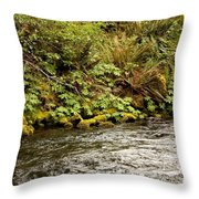Mossy Riverbank Throw Pillow