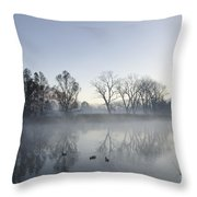 Mountain And Trees Reflected In A Foggy Lake Throw Pillow