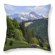 Mountain Landscape In The Alps Throw Pillow