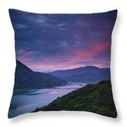 Mountains Along The Coastline Under A Throw Pillow