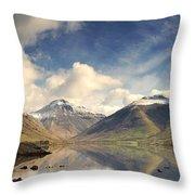Mountains And Lake At Lake District Throw Pillow