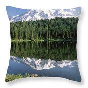 Mt Rainier Reflected In Lake Mt Rainier Throw Pillow