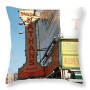 Nathan's Famous At Coney Island  Throw Pillow