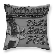 Nathan's Famous In Black And White Throw Pillow
