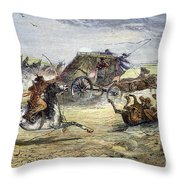 Native American Attack On Coach Throw Pillow