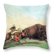 Native American Indian Buffalo Hunting Throw Pillow