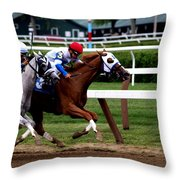 Neck And Neck At Saratoga One Throw Pillow