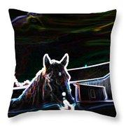 Neon Horse Throw Pillow
