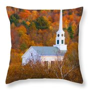 New England Church In Autumn Throw Pillow