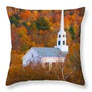 New England Church In Autumn Throw Pillow