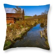 New England Farm In Autumn Scenery Throw Pillow