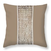 New Orleans Streets Throw Pillow