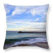 Newport Beach Pier Throw Pillow by Paul Velgos